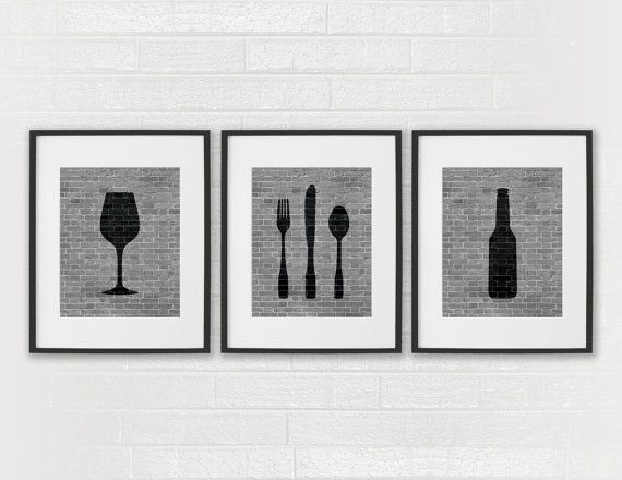 Modern dining room art prints black white kitchen beer wine fork knife spoon set of 3 dining room art kitchen wall decor