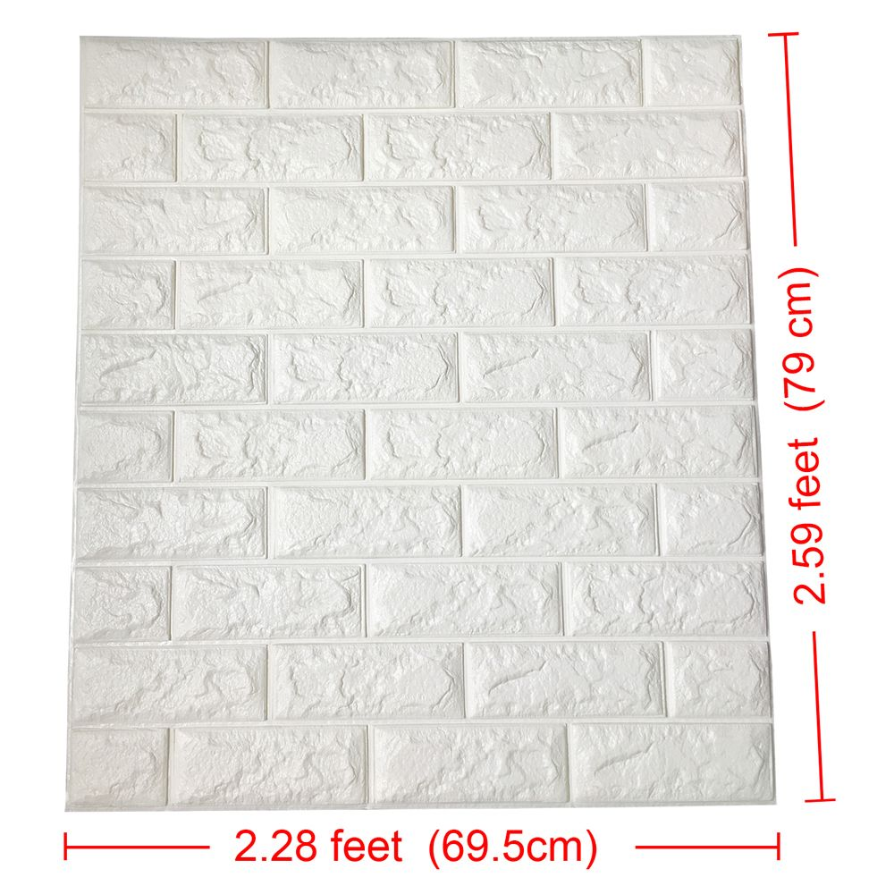 2 6 X 2 3 Peel And Stick 3d Wall Panels White Brick Wallpaper For Tv Walls Sofa Background Wall Decor In 2020 Brick Wallpaper Vinyl Wall Panels Brick Wall Paneling