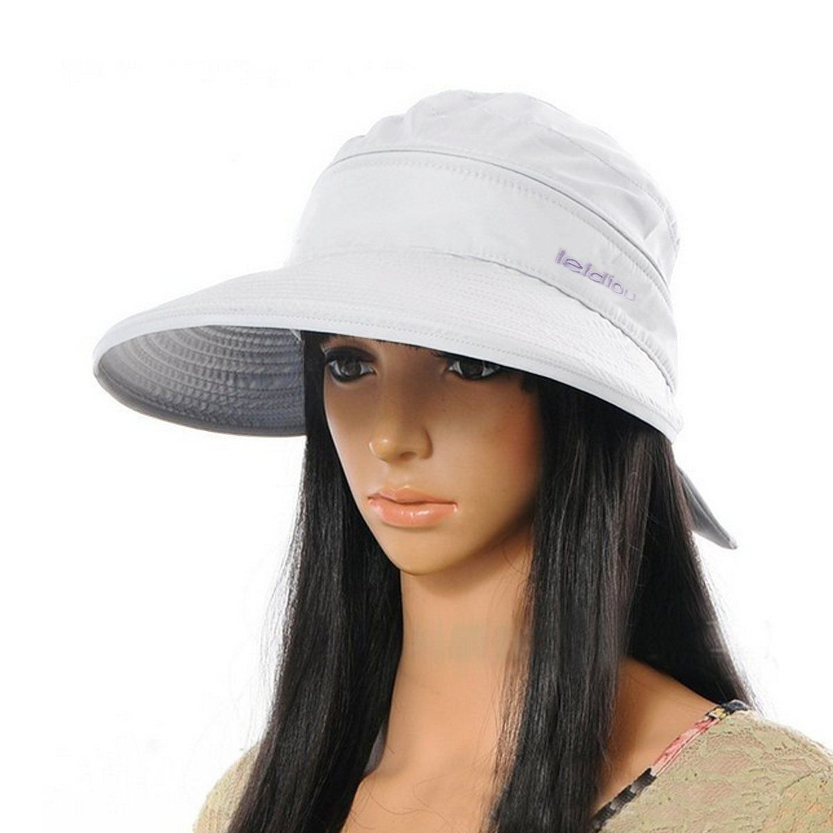Aisa Women Bowknot Sun Hat Wide Large Brim Visor Hat Cap Summer Beach Hat  Color White. 100% Polyester. Estimated Head  Circumference 20