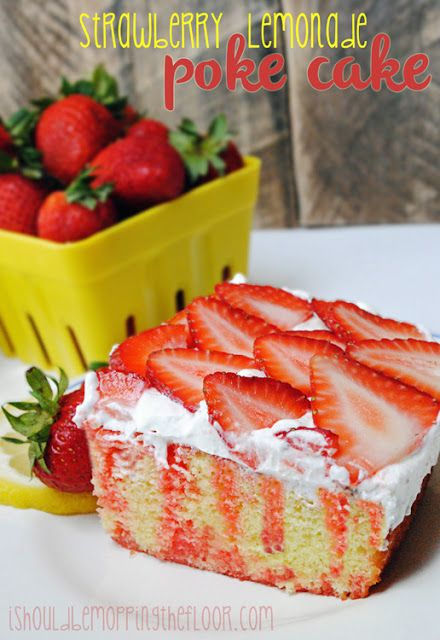 Strawberry Lemonade Jell-o Poke Cake: the perfect summer dessert recipe. It's a cake mix cake that has two of the best summer flavors: strawberry and lemonade. This is one poke cake recipe that you won't forget.