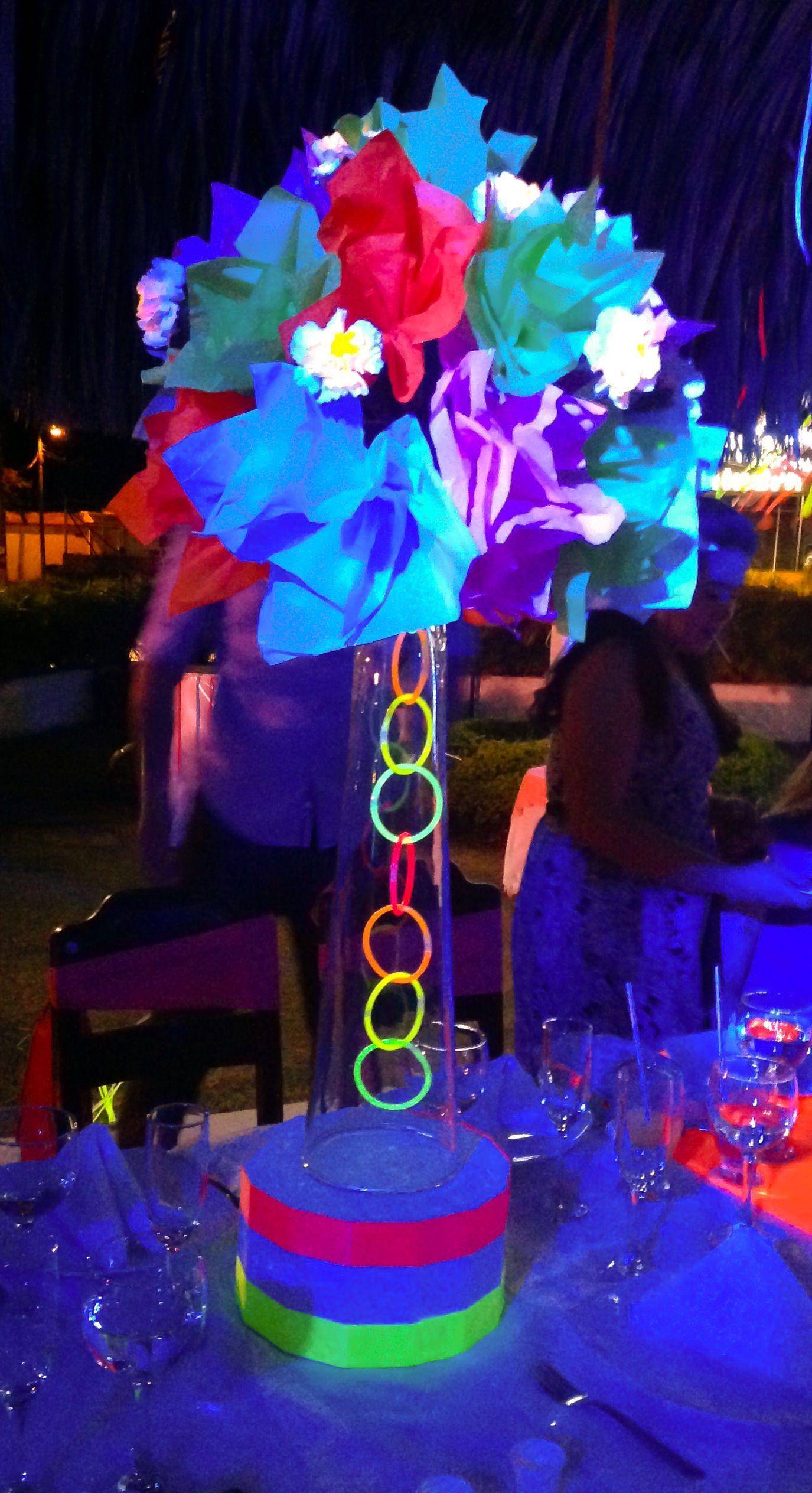 Centro de mesa neon party decoraciones pinterest