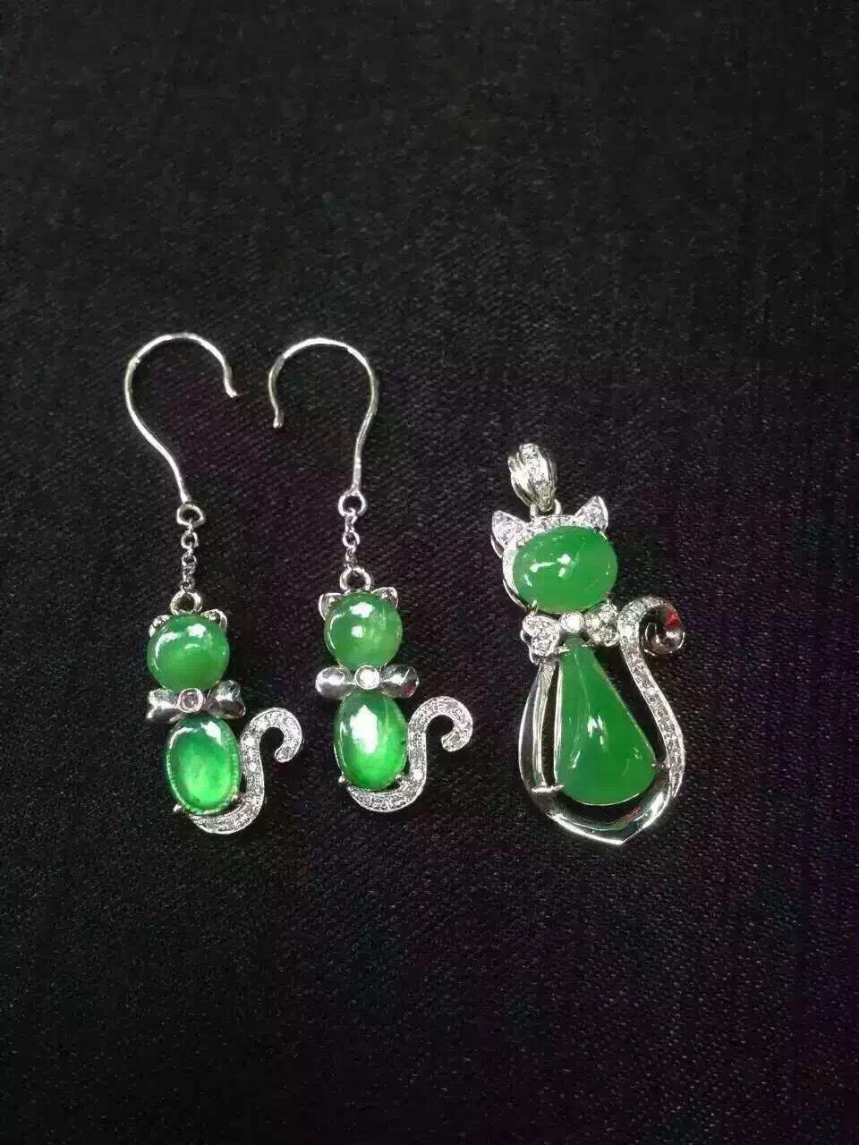Beautiful water green cat earring and pendant jade jewelry set ...