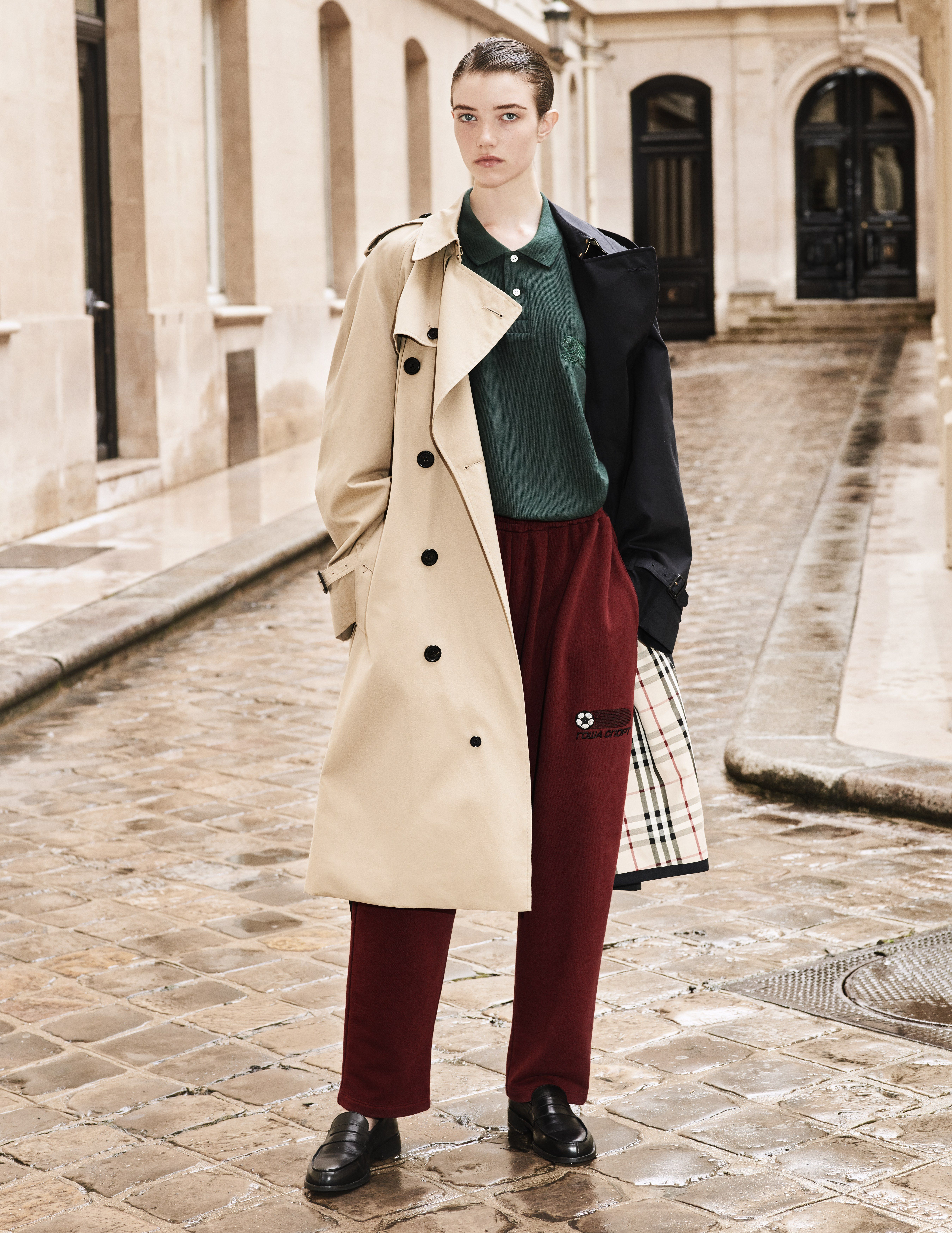 c04bfbeb7d8 Model Grace Hartzel wears a Gosha Rubchinskiy X Burberry two-tone trench  coat in Vogue s September issue