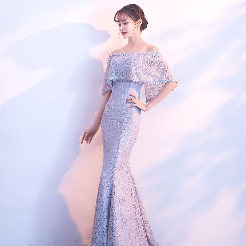 7db96fea08d Chic   Beautiful Grey Evening Dresses 2018 Trumpet   Mermaid Lace Flower Off -The-Shoulder Backless 1 2 Sleeves Floor-Length   Long Formal Dresses