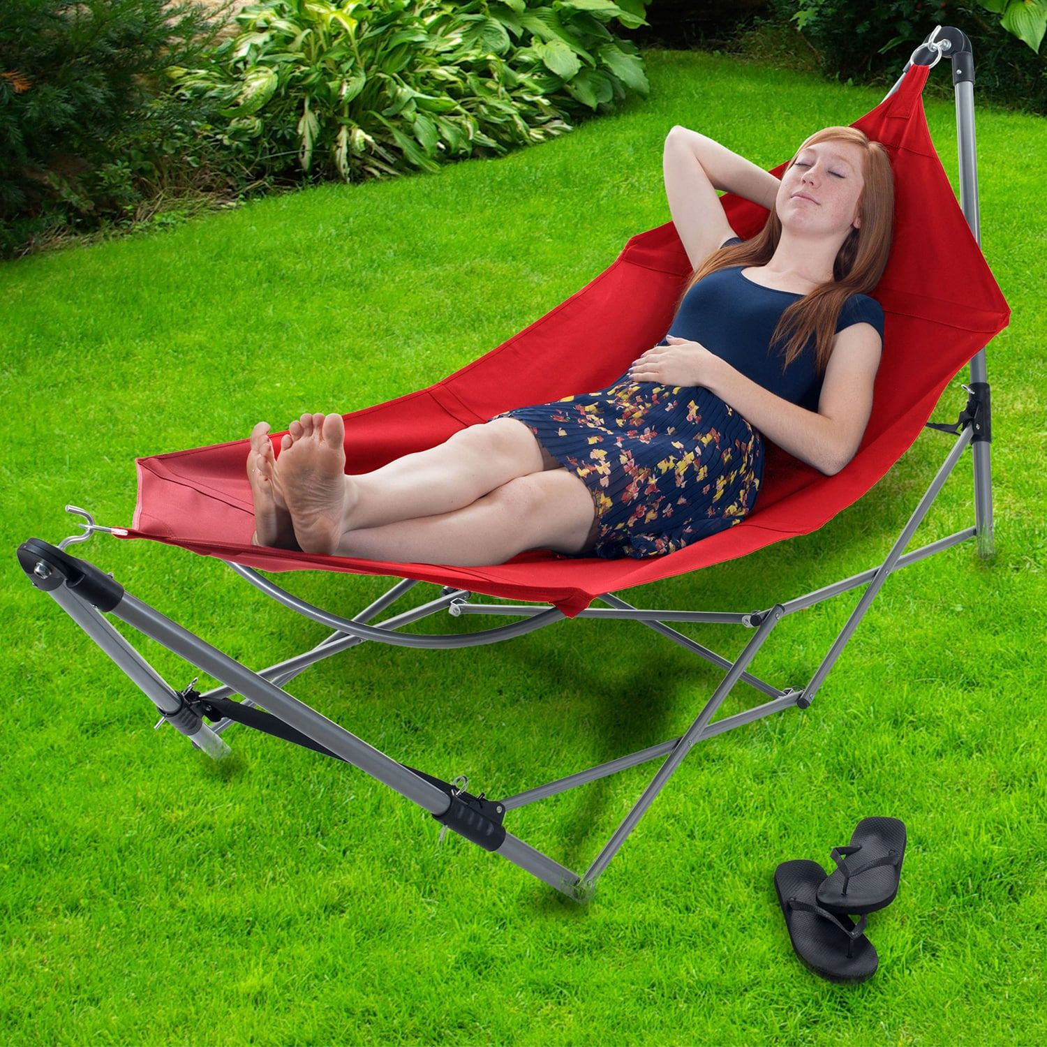 Red portable hammock with frame stand u carrying bag patio