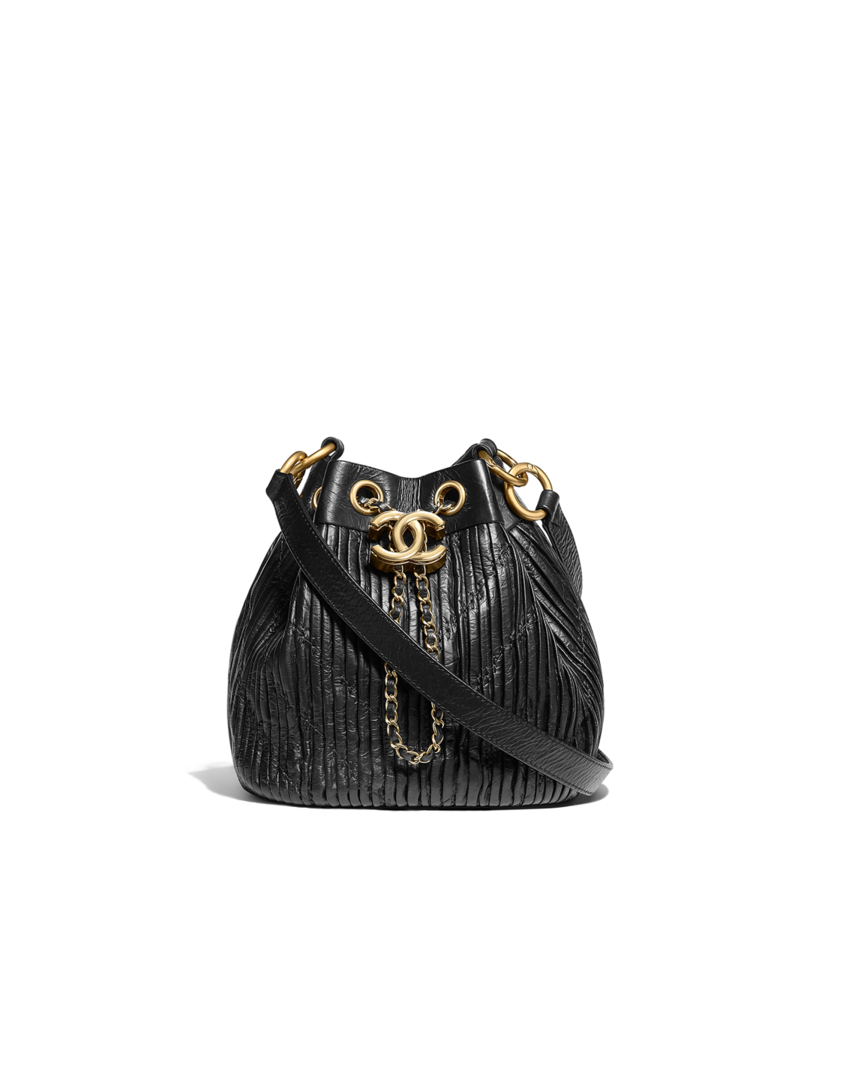 1ba161a7b27f Drawstring bag, pleated crumpled calfskin & gold-tone metal-black - CHANEL