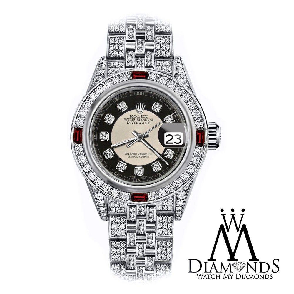 Rolex Tuxedo 26mm Datejust SS Full Pave Set Diamond Jubilee Bracelet & Ruby Bezel