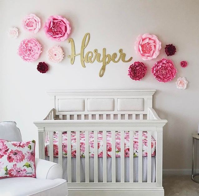 Baby Girl Bedrooms Ideas I love this adorable nursery with a custom name sign! The gold baby name  sign is made by The Gilded Line on Etsy.