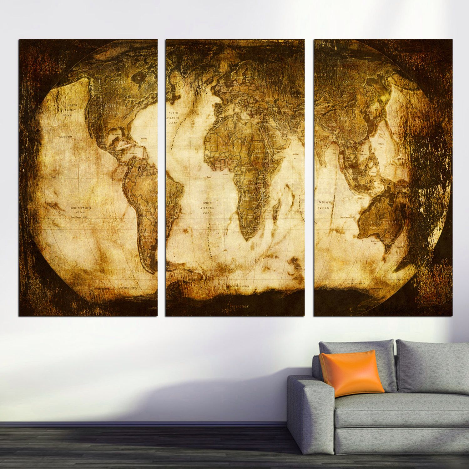 rustic world map 3 panel split triptych canvas print stretched on deep frames art for homeoffice wall decor interior design by canvasquest on etsy