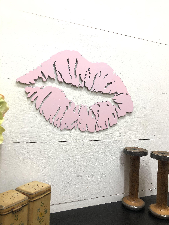 Pink Metal Kiss Lips Decor Boutique or Vanity Wall Hanging #LoveDecor #MetalArtForWomen #PinkKissLips #GirlNurseryDecor #PinkMetalKissLips #WallHangingDecor #VanityDecor #KissLipsDecor #PinkLipstickPrint #AnniversaryGifts