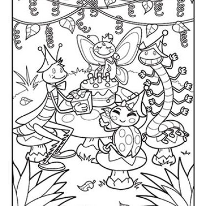 printable coloring page for kids for free bug party coloring page