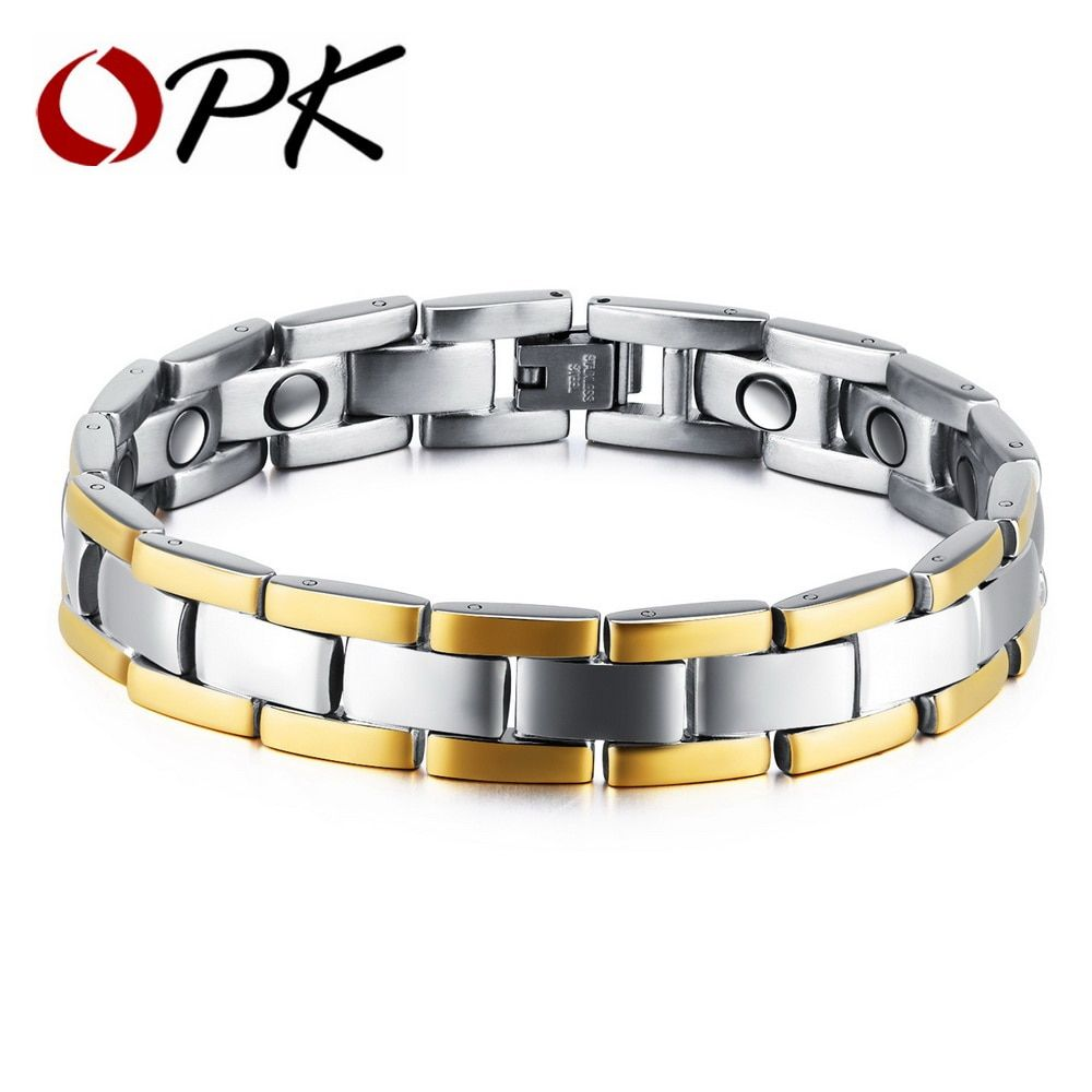 16517efe93b59 Healthy Magnetic Bracelet Men Two Tone Stripe Gold Color Link Chain  Stainless Steel Charm Punk Energy GS874