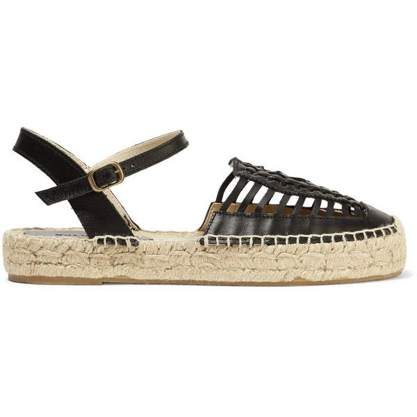 Soludos - Huarache Cutout Leather Espadrilles (105 CAD) ❤ liked on Polyvore  featuring shoes