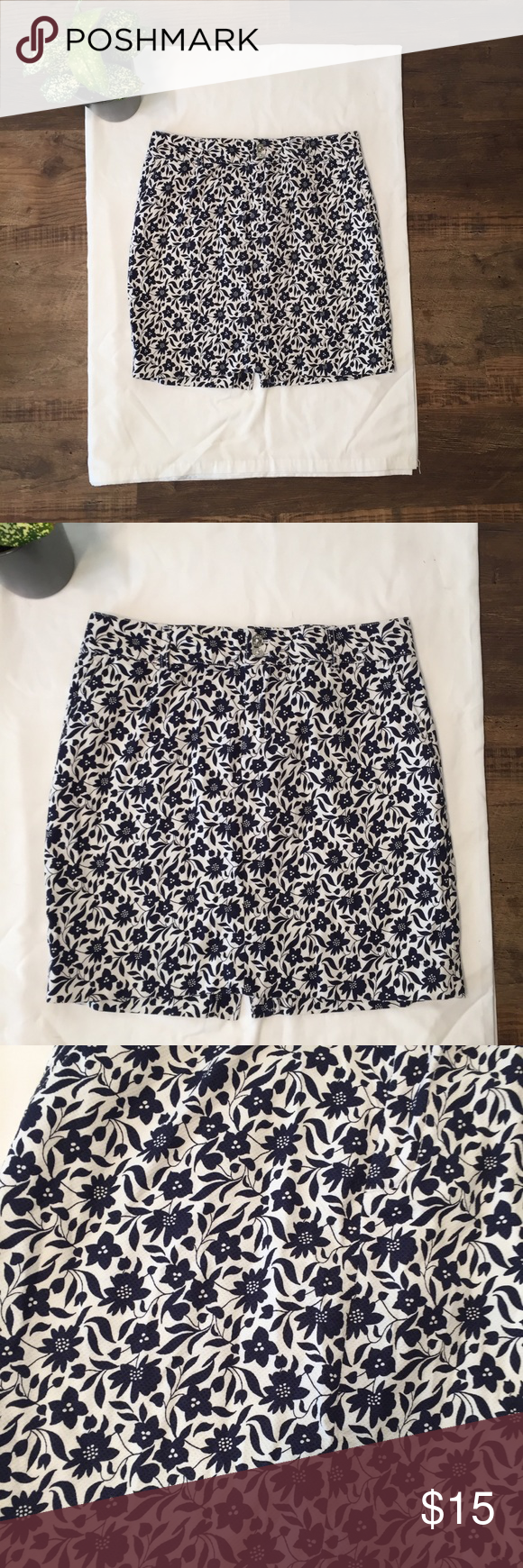 Women's Clothing Skirts Humor Chaps Navy Blue Floral Ruffled Lined Skirt Size S Special Buy