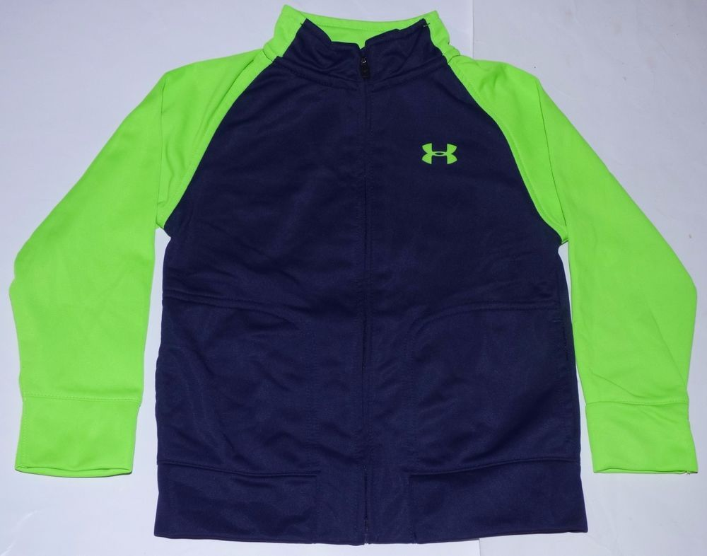 a33e49ae5 Under Armour Navy Blue Lime Green L Sleeve Athletic Zip-Up Track ...