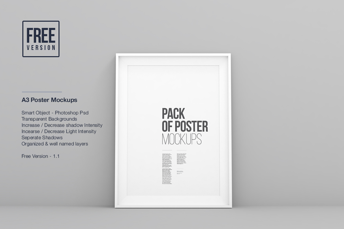 Poster frame mockup in universal A3 format; a great minimal template ...