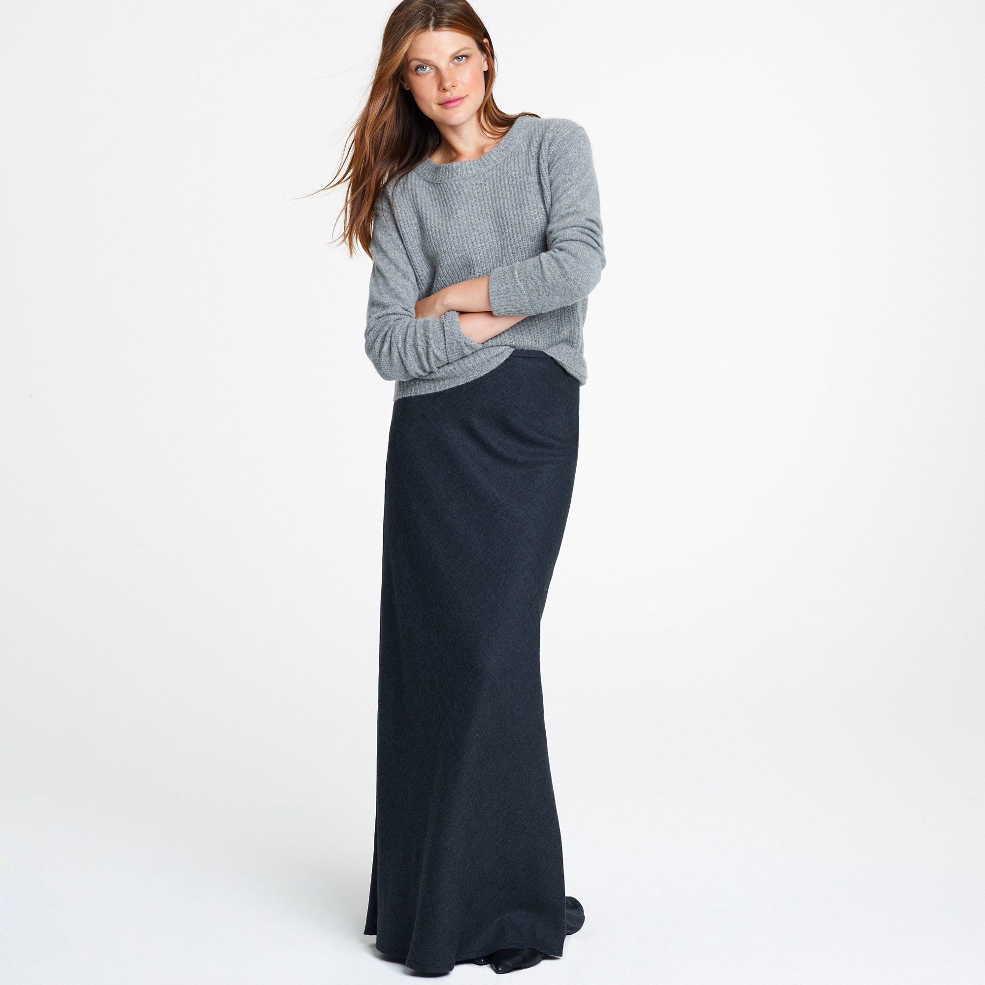 J.crew Wool Maxiskirt in Gray (hthr charcoal)