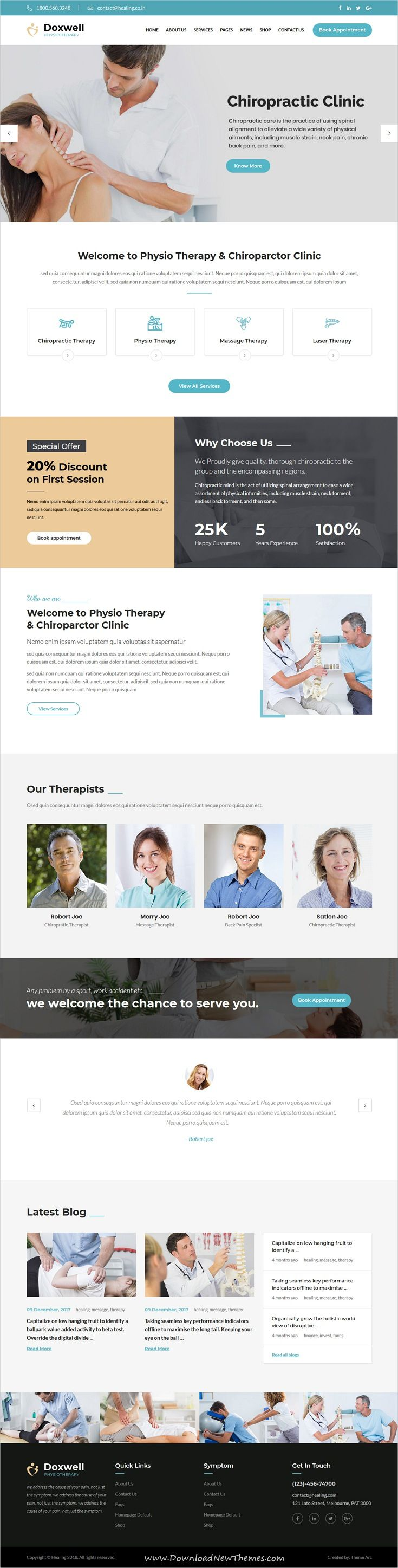 Doxwell Is Clean And Modern Design 3in1 Responsive Wordpress Theme For Medical And Physical Therapy Rehabilitation Centers And Massage Centers Website To