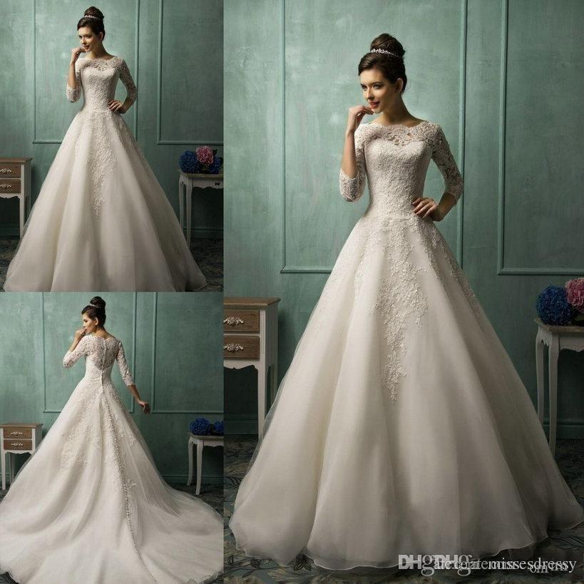 2016 Wedding Dresses Amelia Sposa High Neck Sheer 3/4 Long Sleeve A ...