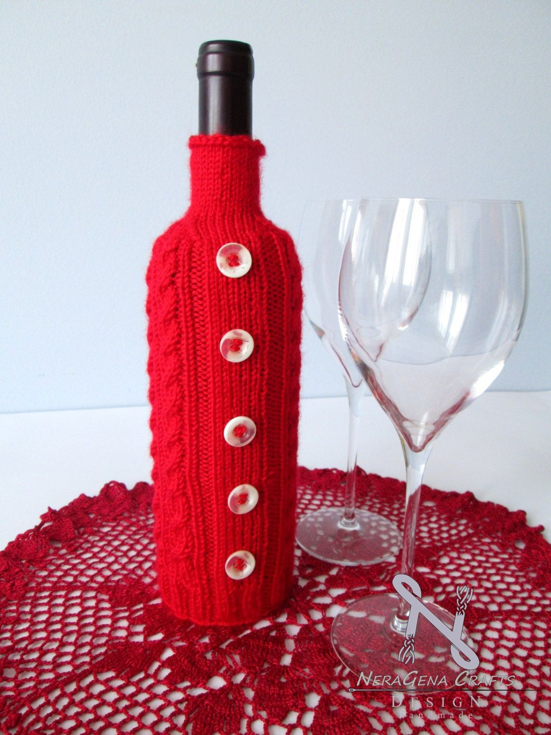 Knitted Red White Green Wine Bottle Cozy Sweater Valentine Home Decoration Handmade Christmas Home Decoration Gift Bottle Cozies Valentine S Home Decoration Wine Bottle Crafts