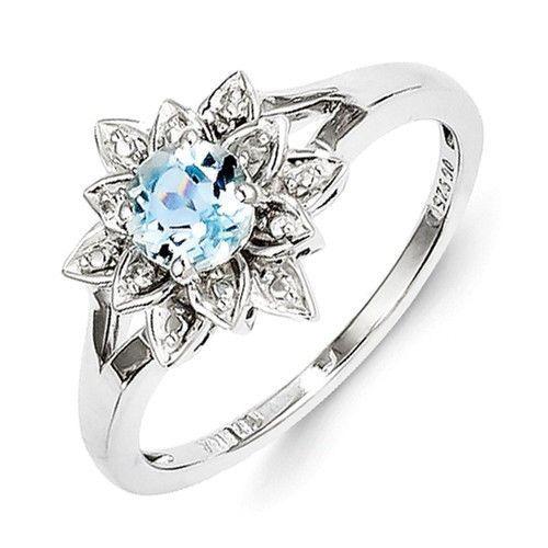 Sterling Silver Diamond Light Blue Topaz Flower Ring Silver