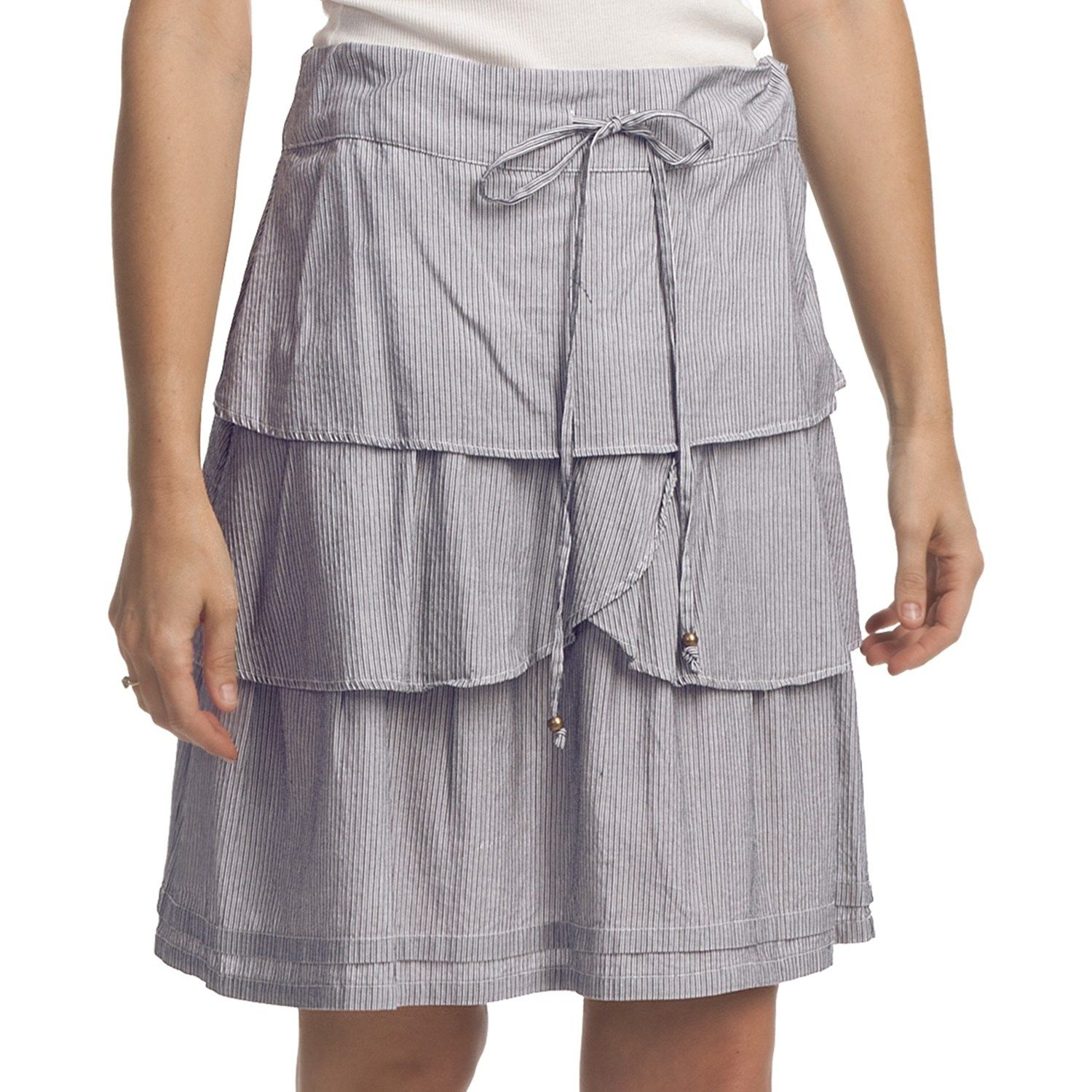 @lindsey willey @Meredith Willey Do you like? For me/travel? True Grit Cotton Three Tier Ruffle Skirt (For Women) in Chambray/Indigo Stripe