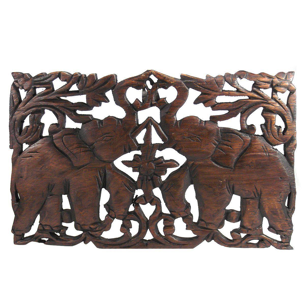 Jubilant thai elephant duo hand carved teak wood wall art relief