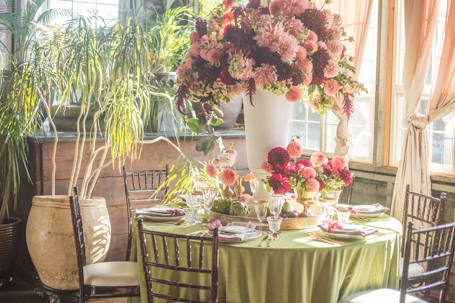 This Large Centerpiece Of Pink And Maroon Flowers Is Perfect For A Luxury Garden Wedding Garden Wedding Wedding Flowers Luxury Garden