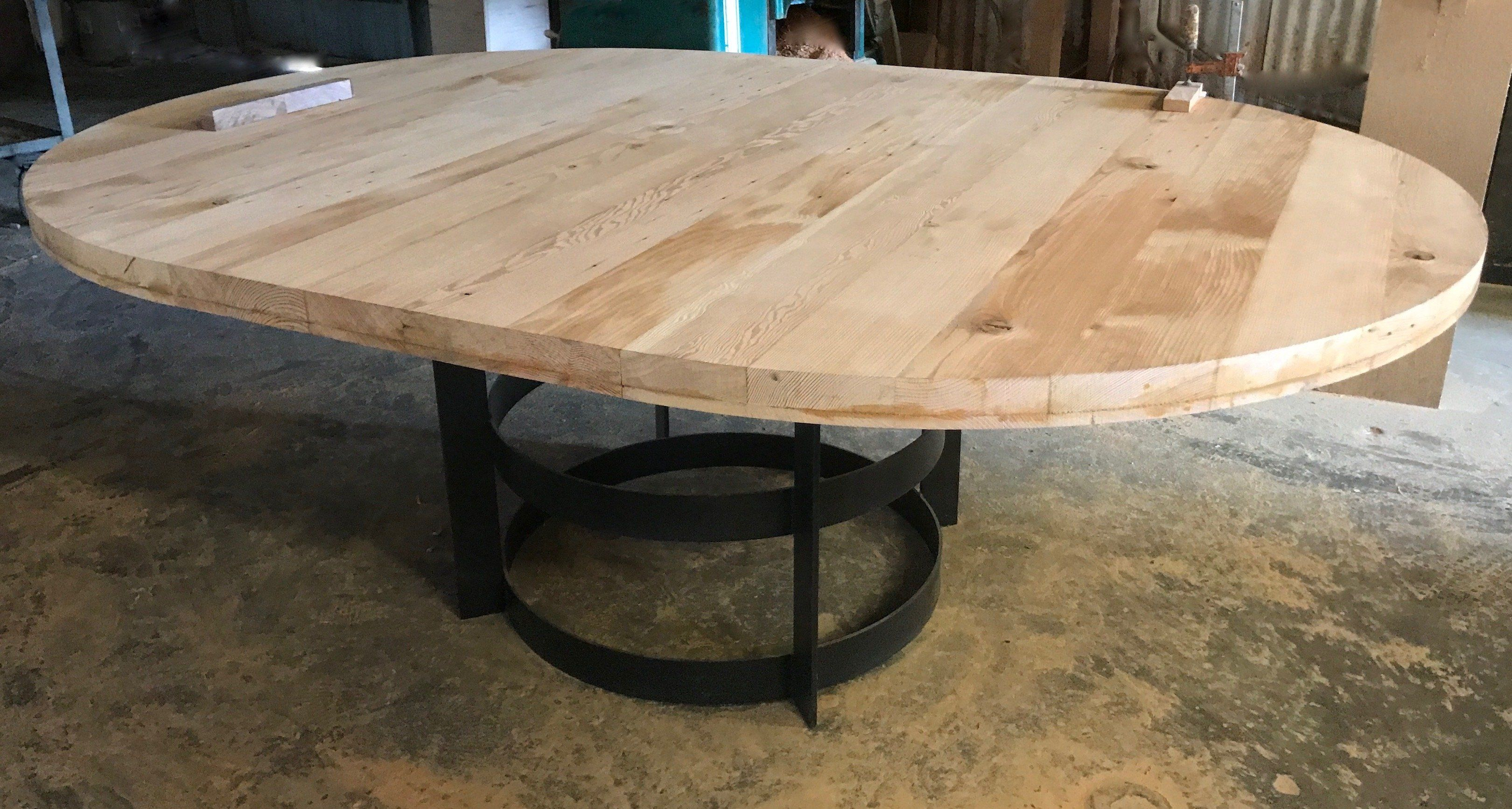 60 Round Reclaimed Wood Extension Table With Metal Base Metal Base Dining Table Metal Table Extension Table