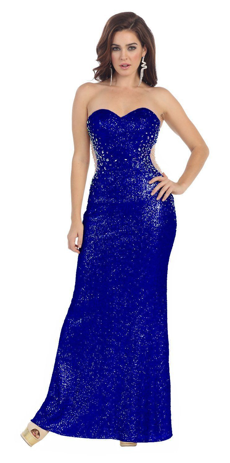 Long Fully Beaded Sequins Formal Prom Dress Evening Gown