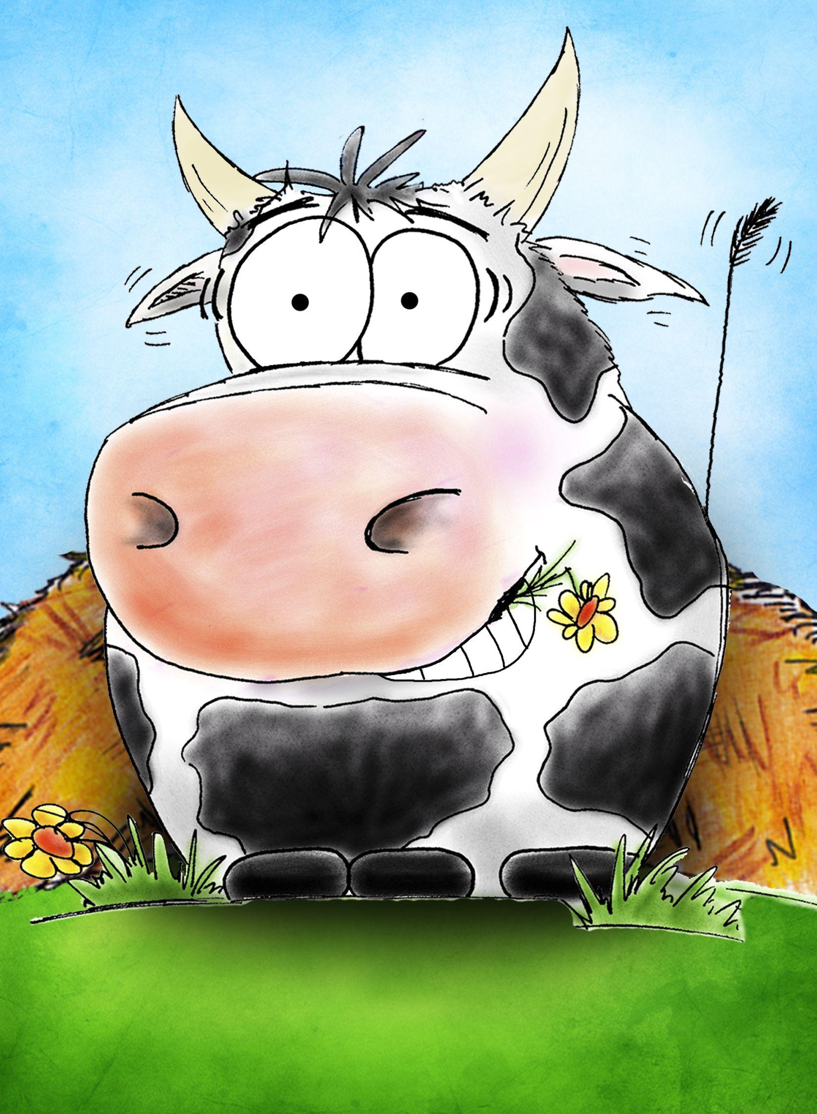 картинка корова с днем рождения вот, как