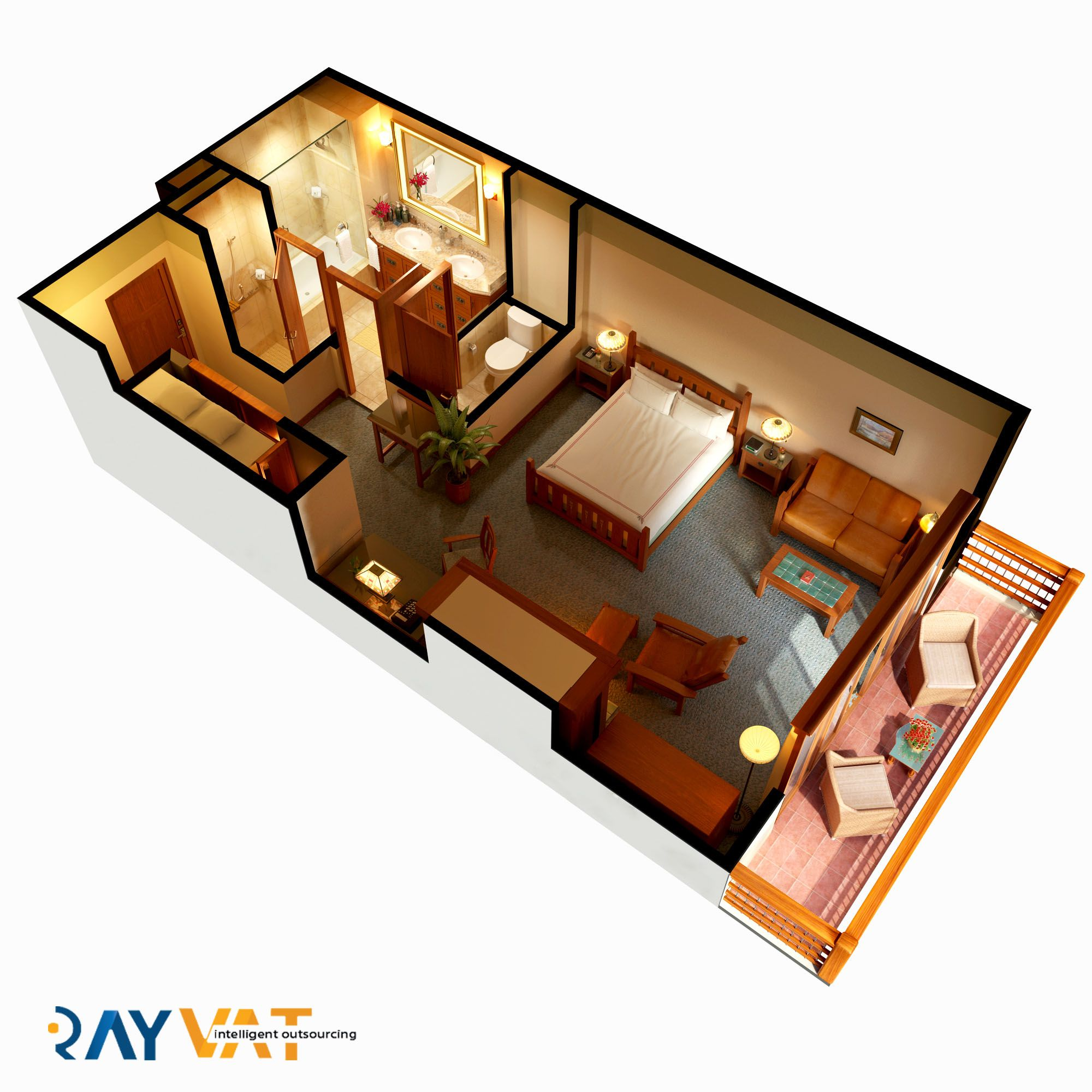 Architectural 3d Floor Plan Rendering: Architectural 3D Floor Plan