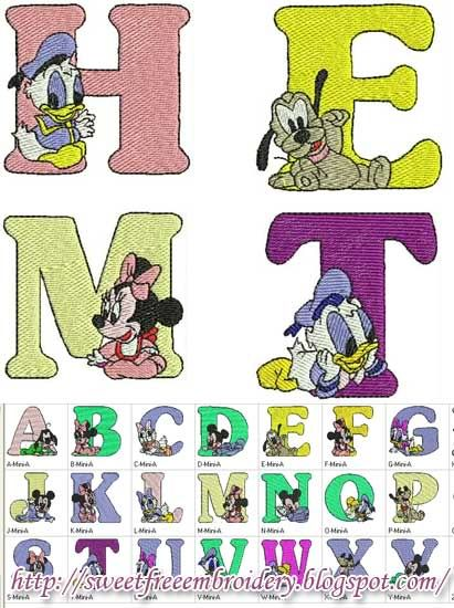 Sweet Free Embroidery: Disney Baby Alphabet Free Embroidery ...