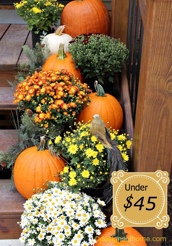 Under 45 For Fall Porch: fall outdoor decorating with pumpkins