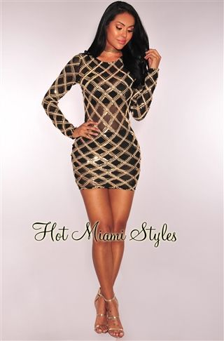 ced166a1ef Black Gold Diamond Sequins Sheer Mesh Dress Womens clothing clothes hot  miami styles hotmiamistyles hotmiamistyles.com sexy club wear evening  clubwear ...