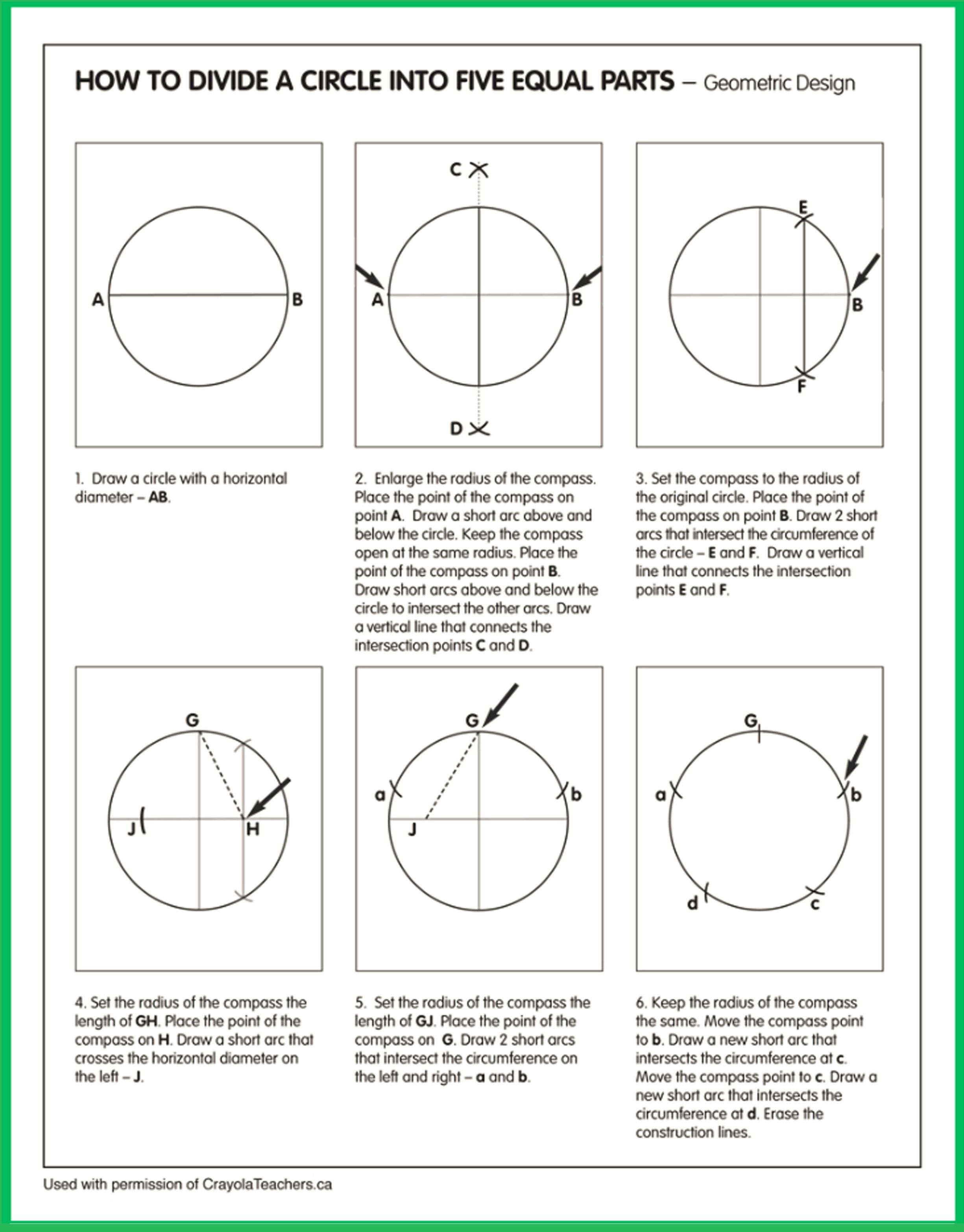 How To Divide A Circle Into 5 Equal Parts Art Worksheets Circle Geometry Geometry Worksheets