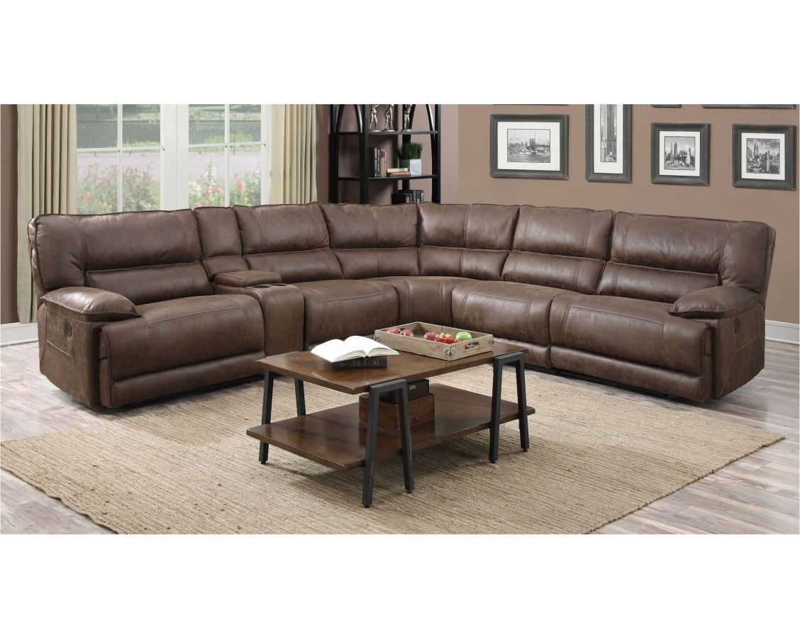 Astonishing Cognac Brown 6 Piece 2X Power Reclining Sectional Sofa Andrewgaddart Wooden Chair Designs For Living Room Andrewgaddartcom