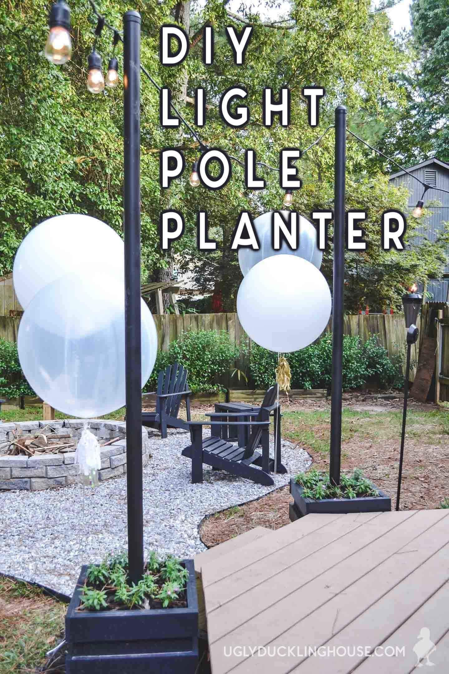 Diy outdoor light pole planters around the deck free