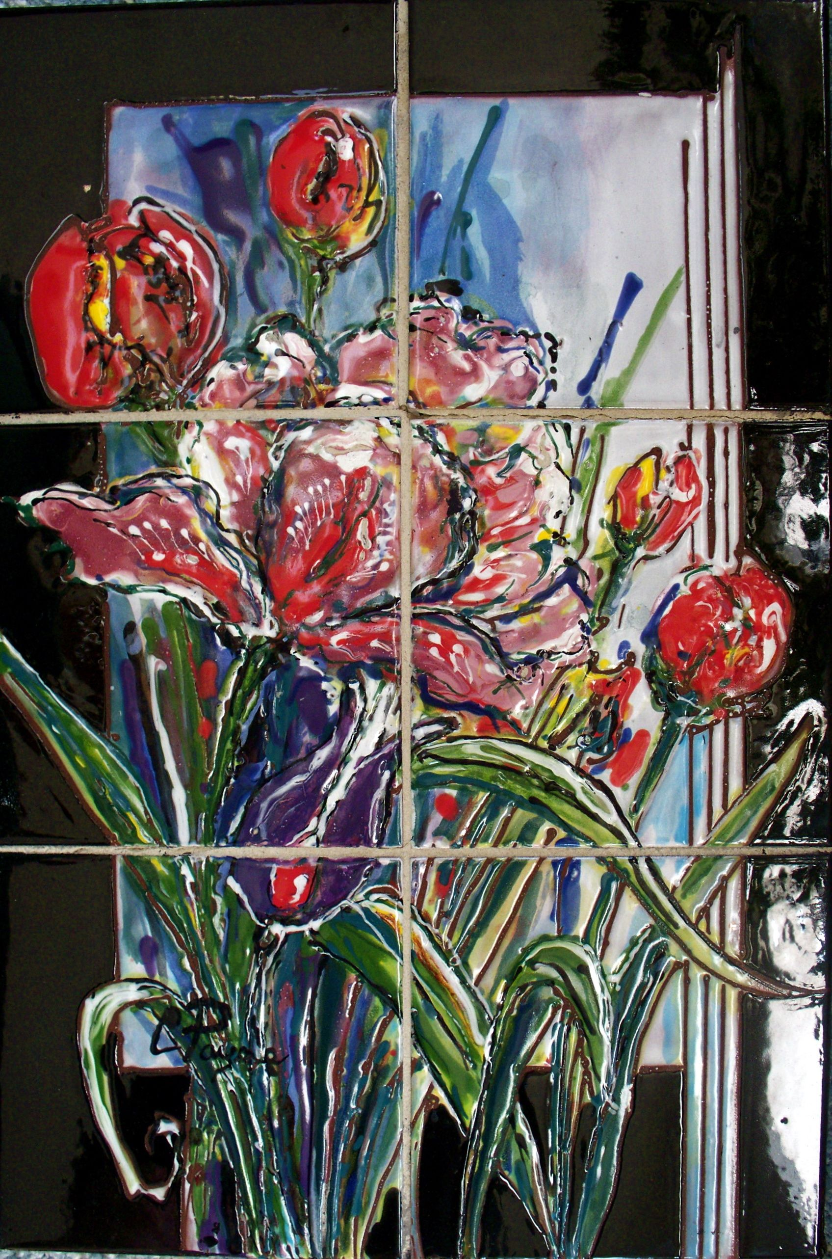 Carolyn Payne Muralshand Painted Tile Mural Tulips Ceramic Tile - Ceramic tile murals for outdoors