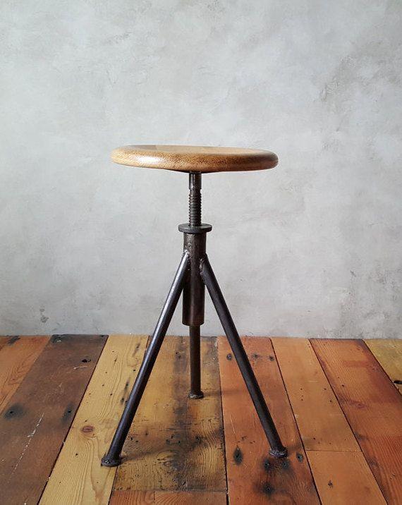 beautiful vintage industrial brushed metal and wood swivel stooltask height