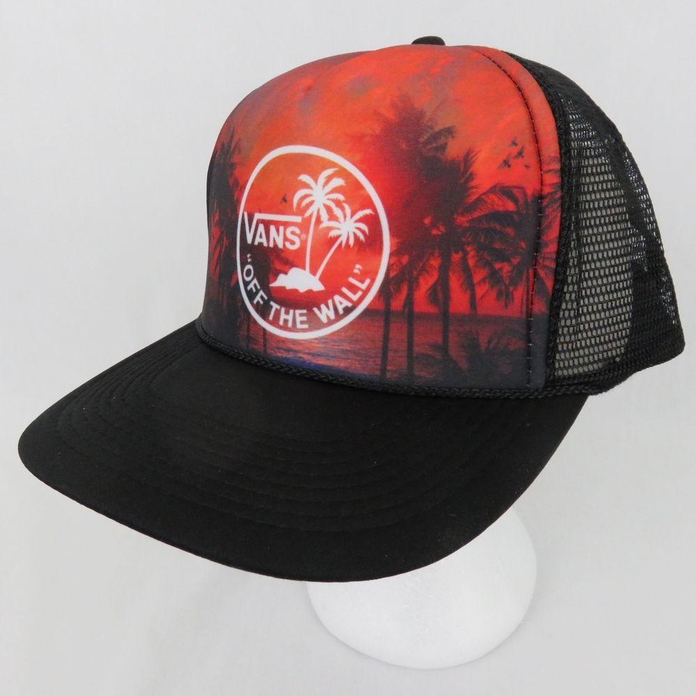 24aad6225 Vans Off The Wall Palm Tree Sunset Mesh Trucker Snapback Hat Skate ...