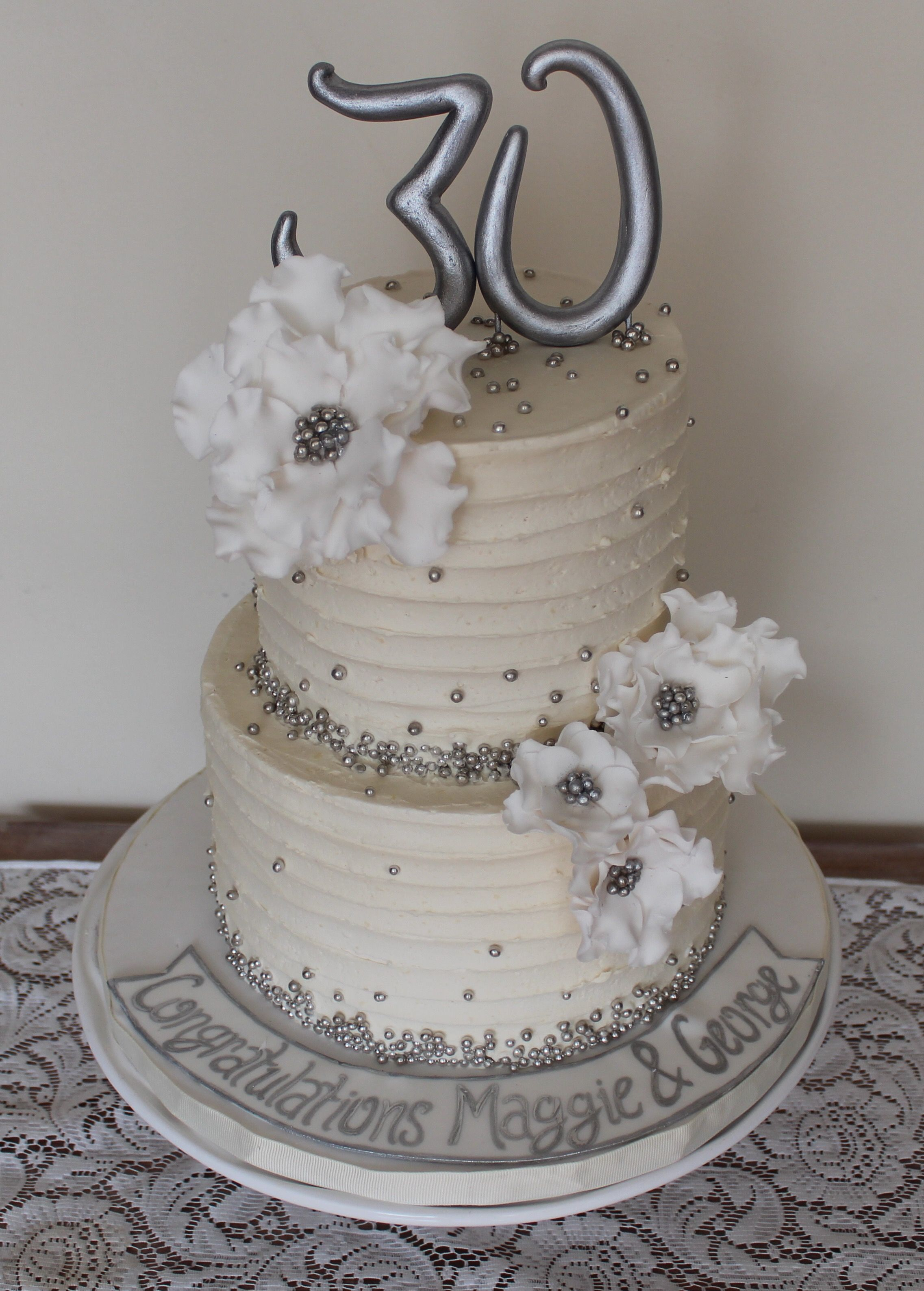 30th Wedding anniversary cake. Silver, white. Sugar flowers and line ...