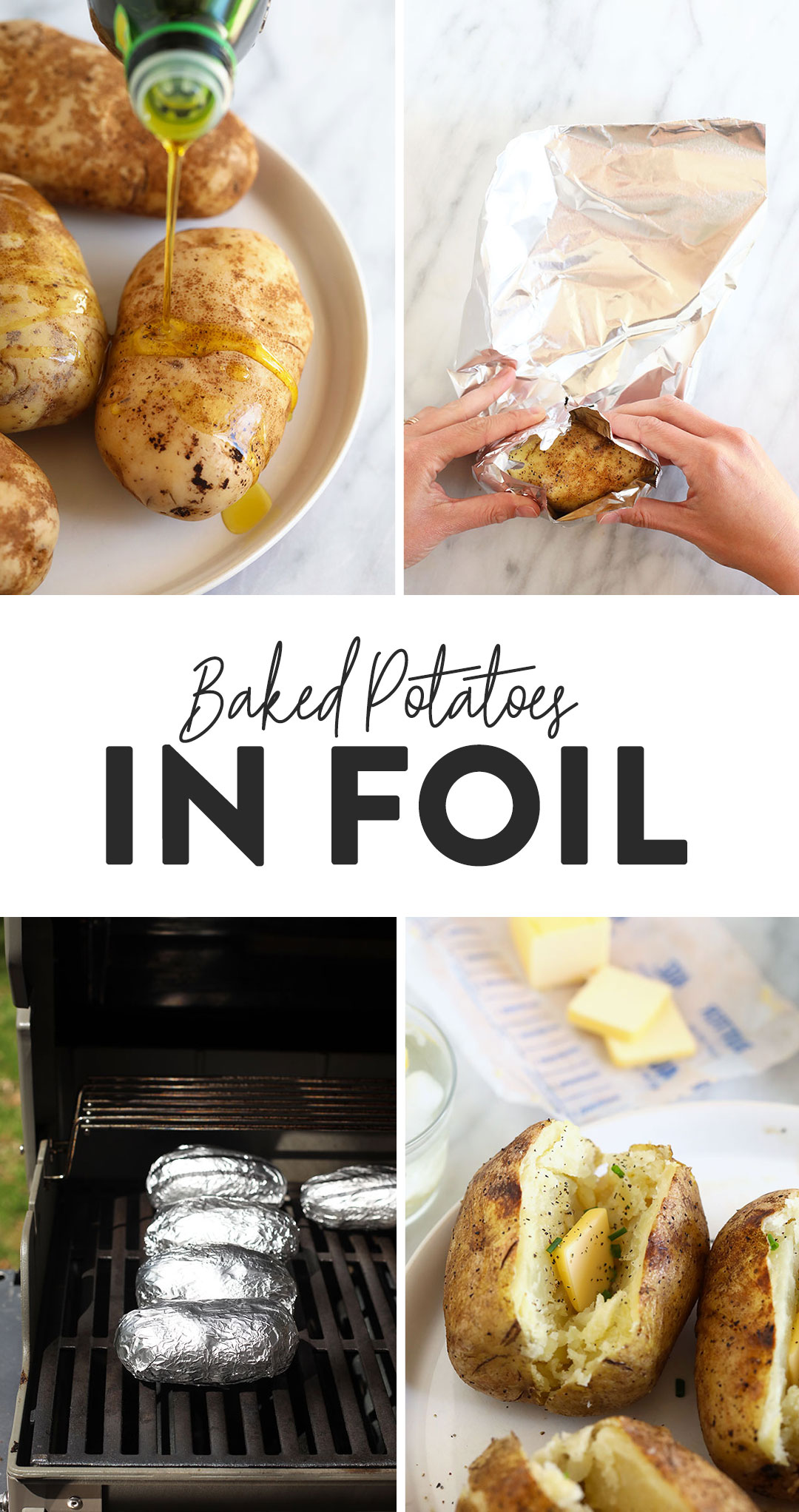 One Of Our Fav Sides Is A Baked Potato In Foil Whether You Want To Make A Grilled Baked Potato In How To Cook Potatoes Perfect Baked Potato Easy Baked Potato