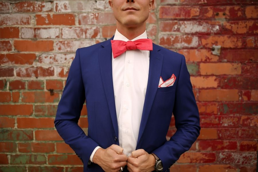 fd9aed794a6c1 Groom suit with hot pink bow tie and pocket square, dark navy suit ...
