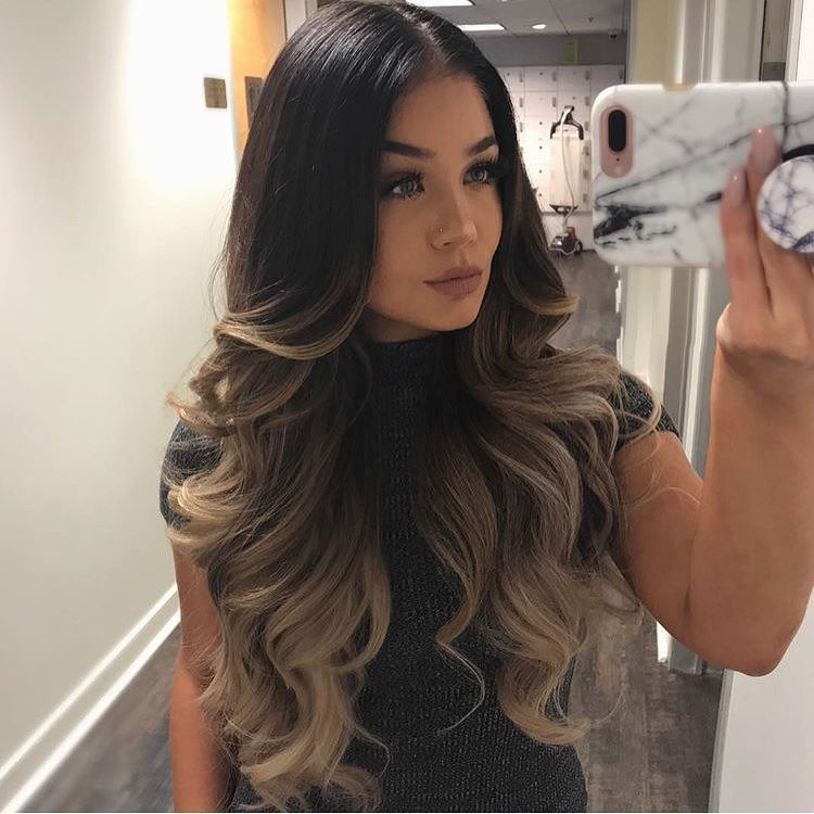 """BELLAMI Hair® on Instagram: """"Yes to hair that delivers the Slay 👆🏼 @blissfulbrii_ is no angel but wears her Bellami Bell-Air™ 20″ 230g 2/18 Dark Brown to Dirty Blonde…"""""""