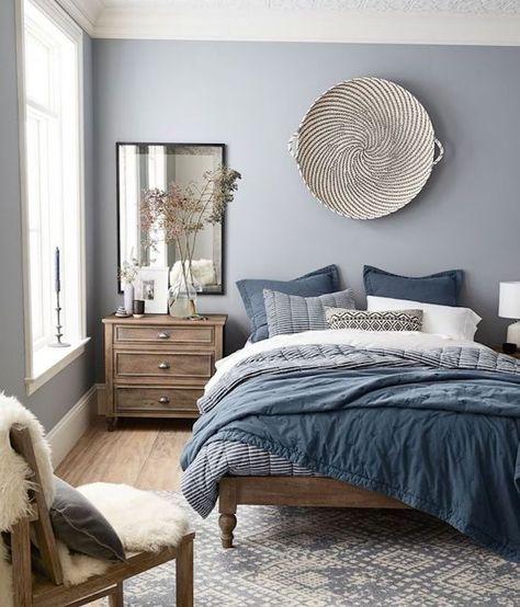 Comment Décorer Sa Chambre, Mur Couleur Grise, Linge De Lit Bleu Blanc Et  Noir, Commode Bois Vintage, Tapis Gris Et Blanc, Chaise Retro, ...