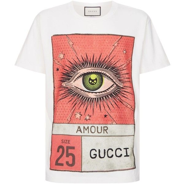 d125e9a3 Gucci Eye Motif T-Shirt ($480) ❤ liked on Polyvore featuring tops, t-shirts,  gucci, gucci top, gucci tee and gucci t shirt