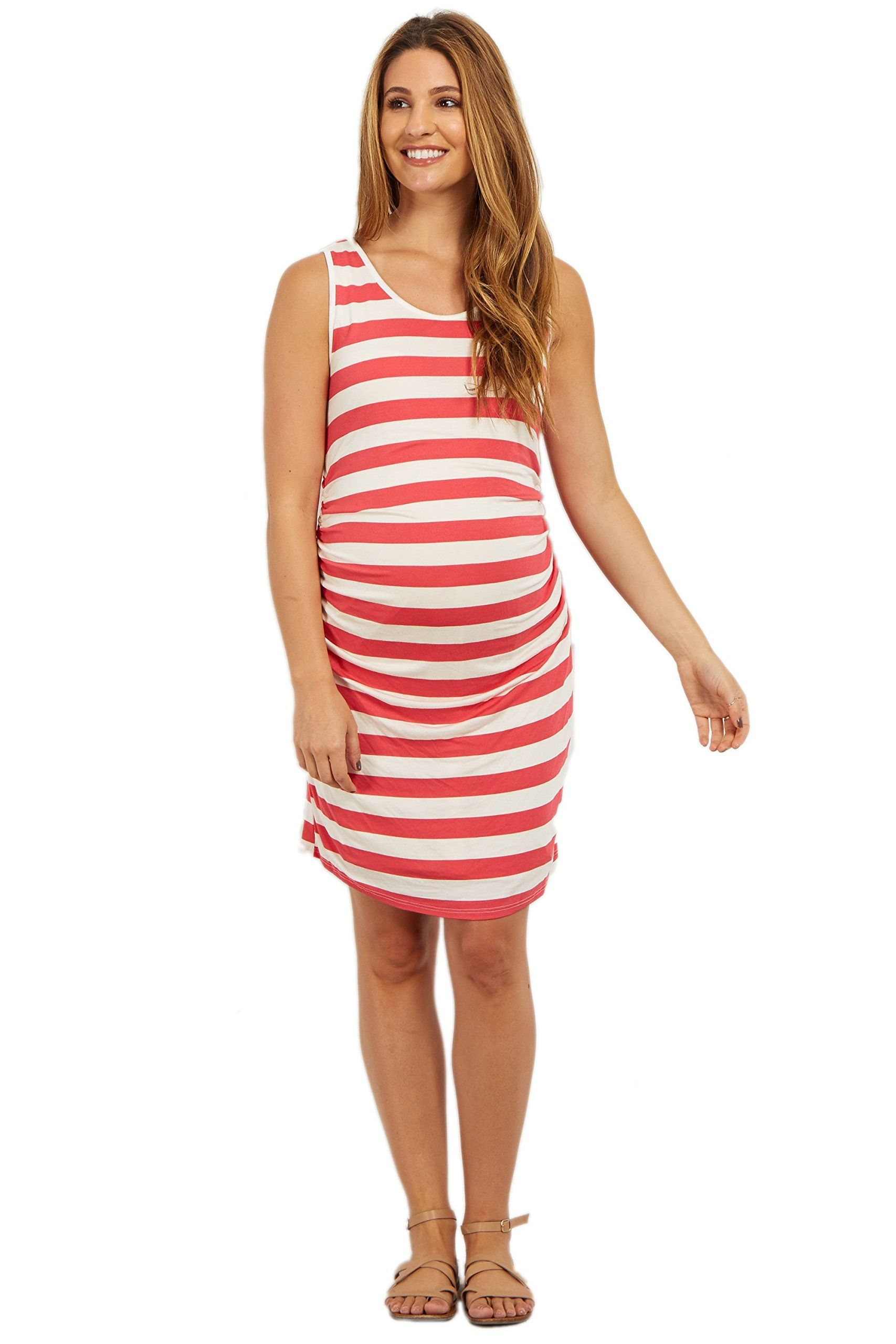 fb100ba7404 Maternity Fashion - comfortable maternity dresses   PinkBlush Maternity  Pink Striped Sleeveless Fitted Maternity Dress XL     Learn more at the  picture web ...