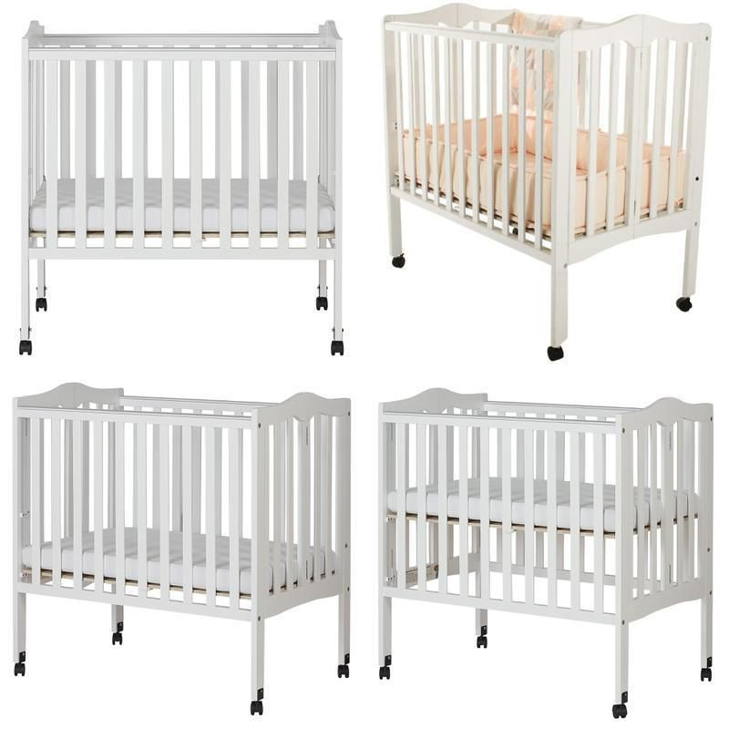 Folding Portable Baby Crib Nursery Bed Locking Wheels With