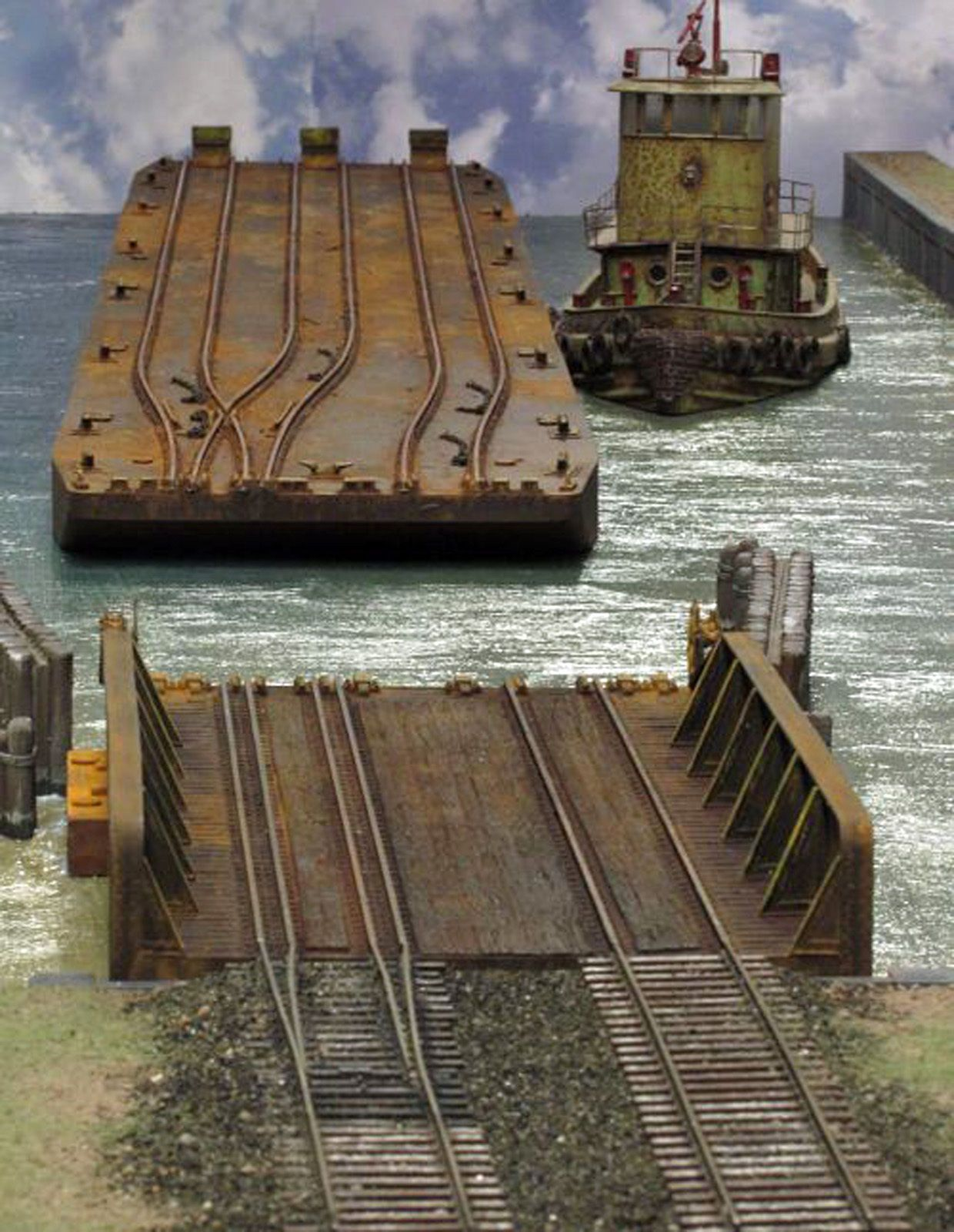 PONTOON FLOAT BRIDGE HO Model Railroad Ship Nautical Scenery